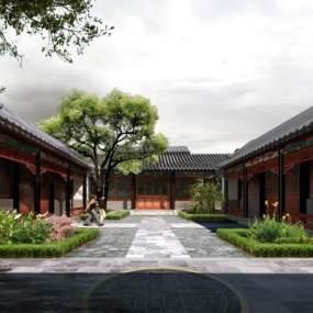 中式庭院住宅3D模型【ID:133475742】