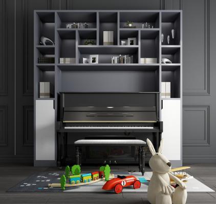 現代鋼琴裝飾柜玩具擺件組合3D模型【ID:340918990】