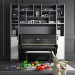 现代钢琴装饰柜玩具摆件组合3D模型【ID:340918990】