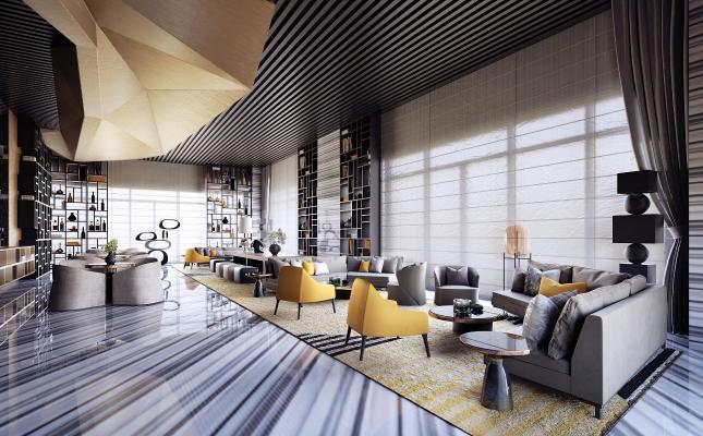 现代酒店会所洽谈区会客区