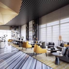 現代酒店會所洽談區會客區3D模型【ID:652421571】