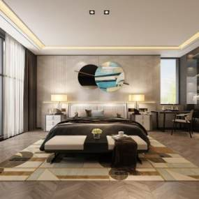 现代卧室主人房 3D模型【ID:541494272】