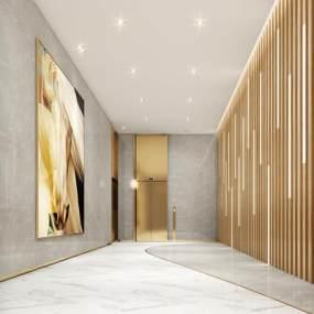 现代风格电梯厅3D模型【ID:743570615】