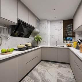 现代厨房3D模型【ID:542423336】