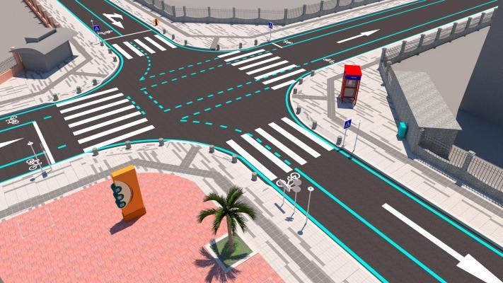 現代市政十字路口SU模型【ID:346212095】