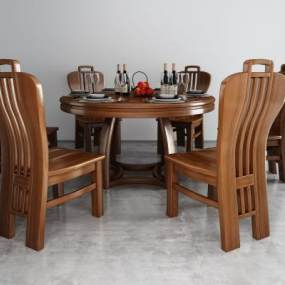 新中式餐桌椅3D模型【ID:844145881】