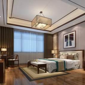 新中式臥室3D模型【ID:534785226】