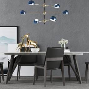 現代餐桌椅組合3D模型【ID:847413884】