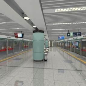 现代地铁站候车厅3D模型【ID:947442933】