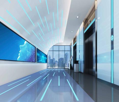 现代风格电梯厅3D模型【ID:743049671】