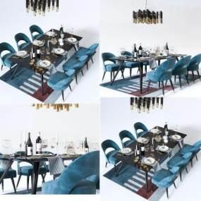 北欧餐桌椅3D模型【ID:735772101】