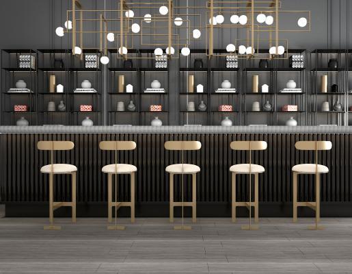 新中式吧台吧椅酒柜酒架吊灯组合3D模型【ID:940981236】