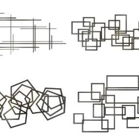 现代墙饰组合3D模型【ID:233489718】