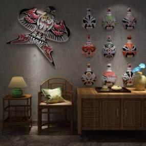 中国文化脸谱3D模型【ID:131215172】