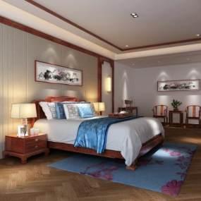 中式主卧卧室床边柜组合 3D模型【ID:541382202】
