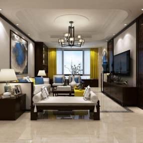 新中式客厅空间3D模型【ID:543506084】