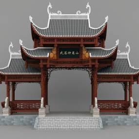 中式古建筑牌楼模型3D模型【ID:230952161】