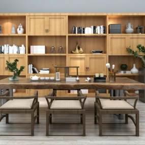 新中式茶桌椅书柜组合3D模型【ID:930507510】