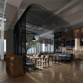 新中式咖啡厅3D模型【ID:634811307】