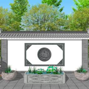 中式庭院花园景墙水缸 3D模型【ID:142288461】