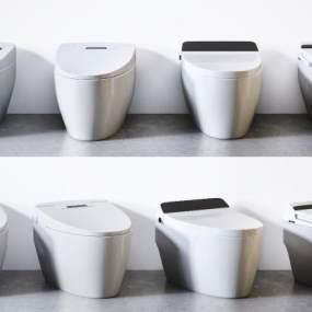 現代智能馬桶組合3D模型【ID:252579126】