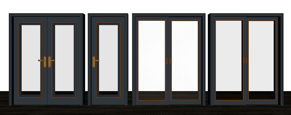 簡歐單開門雙開門玻璃推拉門組合SU模型【ID:149373991】