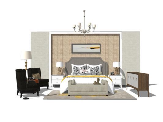 美式臥室床具組合SU模型【ID:545260287】