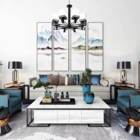 新中式沙发茶几吊灯地毯装饰画组合3D模型【ID:635361771】