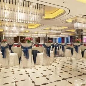 现代酒店宴会厅3D模型【ID:734472285】