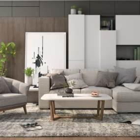 现代沙发茶几组合3D模型【ID:643416755】