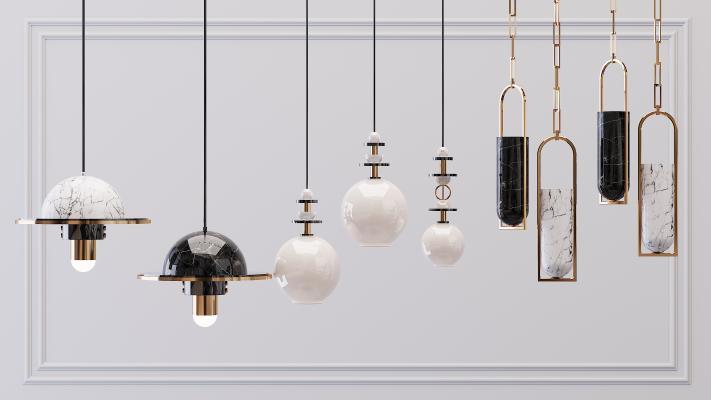 现代金属吊灯3D模型【ID:753438805】