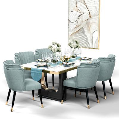 北欧现代餐桌椅组合3D模型【ID:843610843】