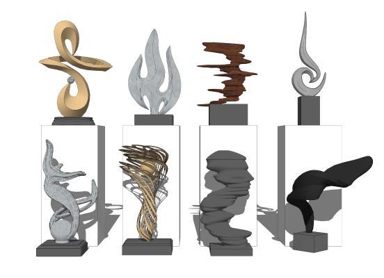 現代雕塑擺件組合SU模型【ID:952032736】