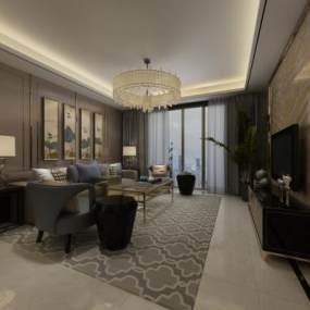 新中式客厅3D模型【ID:536072013】