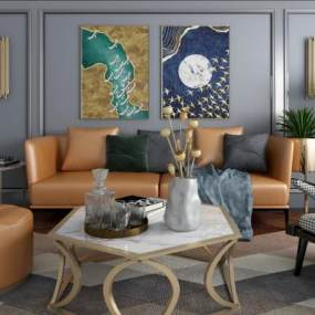 现代简约休闲皮革沙发茶几组合 3D模型【ID:641337762】