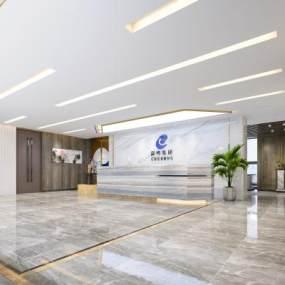 新中式风格前台大厅3D模型【ID:953354253】