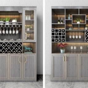 新中式酒柜组合3D模型【ID:631462238】