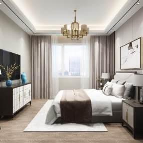 新中式臥室3D模型【ID:548891323】