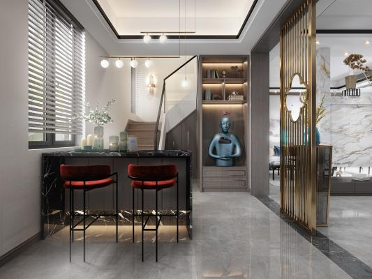 新中式樓梯間餐廳3D模型【ID:551624163】