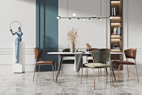 現代餐桌椅組合3D模型【ID:852468811】