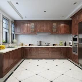 美式厨房3D模型【ID:553836390】