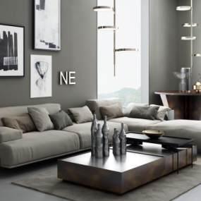 现代沙发组合3D模型【ID:644394784】