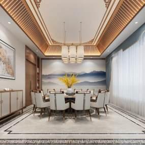 新中式餐廳包廂3D模型【ID:652597863】