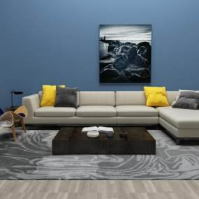 现代沙发茶几3D模型【ID:632928730】