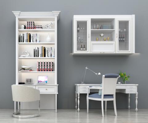 歐式書桌椅子書柜裝飾柜組合3D模型【ID:930586008】