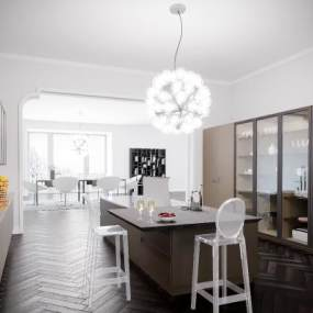 北欧厨房橱柜吊灯组合3D模型【ID:132695705】