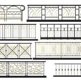 新中式金属栏杆组合3D模型【ID:336026355】