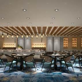 现代酒店餐厅3D模型【ID:634945688】