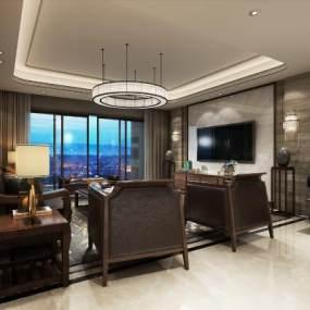 新中式客厅空间 3D模型【ID:541627084】