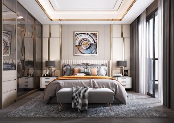 现代轻奢卧室3D模型【ID:546430226】